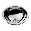 "Half Sphere Sink 11-1/2"" Wide - Mirror Stainless Steel Finish, Without Studs"