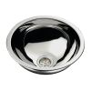 """Round Sink 13-1/4"""" Wide - Mirror Stainless Steel Finish, Without Studs"""