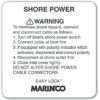 ABYC Warning Decal for Square 30A 125V Plastic Inlets