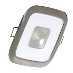 Square Mirage LED Down Light - White with Polished SS Trim