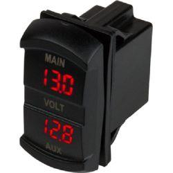Dual Voltmeter Rocker Switch Style