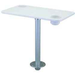 White Polymer Table with Stowable Pedestal
