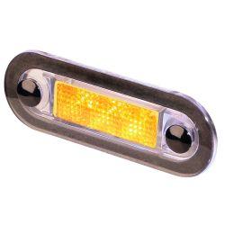 OVAL AMBER LED CLEAR PLASTIC FRAME
