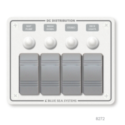 DC Water Resistant White Circuit Breaker Panels, Horizontal - 4 Switches