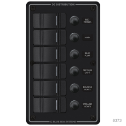 DC Water Resistant Black Circuit Breaker Panels, Horizontal - 8 Switches