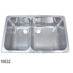 "Rectangle Asymmetric Double Sink 24"" Wide - Satin SS Finish, No Studs 10632/49"