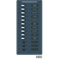 AC Main + Additional Positions Vertical Circuit Breaker Panels, AC Main + 11 Positions Breaker Panel (White Toggle)