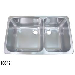 """Rectangle Asymmetric Double Sink 24"""" Wide - Satin SS Finish, No Studs 10632/49"""