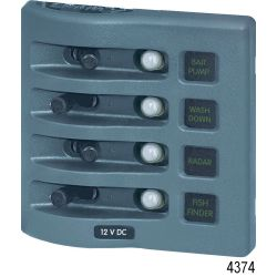 WeatherDeck Water Resistant Switch/Thermal Breaker Panel, 4 Circuits White