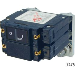 C-Series DC Flat Rocker Double Pole Circuit Breakers, 200A DC