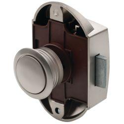 DOOR LOCK PLASTIC W/CHROME PUSH BTN