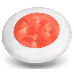 Slim Line LED Round Lamp - Deep Red, White Trim