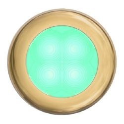 Slim Line LED Round Lamp - Cyan Lamp, Gold Trim