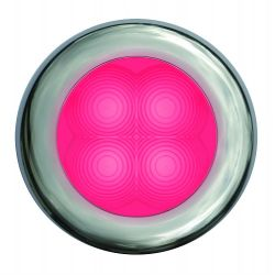 Slim Line LED Round Lamp - Deep Red, Chrome Trim