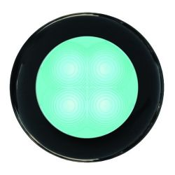 Slim Line LED Round Lamp - Cyan Lamp, Black Trim