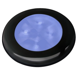 Slim Line LED Round Lamp - Blue Lamp, Black Trim