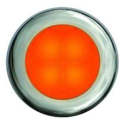 Slim Line LED Round Lamp - Orange Light, Stainless Trim