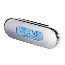 LED STEP LAMP 1X2 BLUE W/ SS RIM