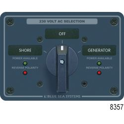 No. 9009 120V AC 2-Source Selector Rotary Switch & Panels - 30A, 9009 Rotary Switch in Modular 360 Panel, 120V AC