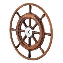 Teak Yacht Wheel with Teak Rim