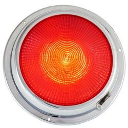 6-3/4IN LED DOME LIGHT CHROME WHT/RD