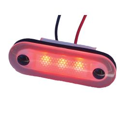 12V RED SANTIAGO 3-LED OVAL LIGHT