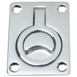 Rectangular Chrome Flush Ring Pull