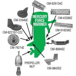 Mercury, Force, Mariner Outboard Anodes - Zinc