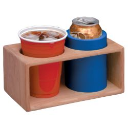 TWO INSULATED DRINK RACK, TEAK
