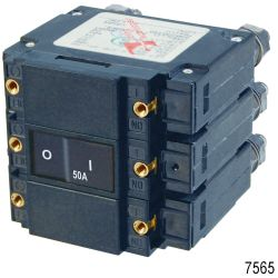 AC C-Series Flat Rocker Triple Pole Circuit Breakers, 50A AC