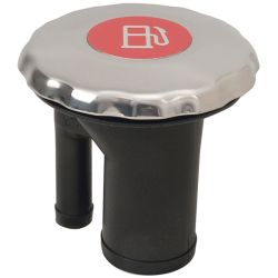 EPA Compliant Sealed Ratcheting Chromed Scalloped Cap Straight Neck Fuel Fill - with Metallic Decal