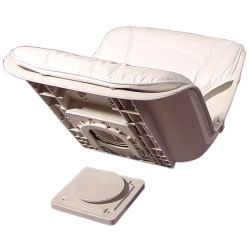 Low Back All-Weather Quick Disconnect Boat Seat & Cushion Combo - White