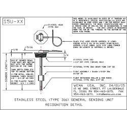 "Wema KUS S5U 11/"" Threaded Sending Unit Fuel Water Sender Level Sensor"