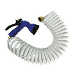 White Coiled Hose with Adjustable Nozzle