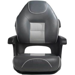 Discontinued: Ultimate Elite High Back Black Shell Charcoal/Silver Cushion with Silver Welt