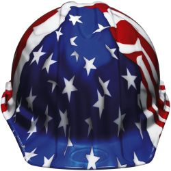 front view of 3M XLR8 American Flag Hard Hat - with Ratchet Adjusting Suspension