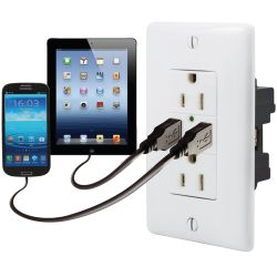 No Longer Available: Duplex Receptacle with Dual USB 2.0 Charging Ports
