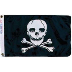 12INX18IN NYL-GLO JOLLY ROGER FLAG