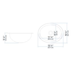 "Dimensions of Ambassador Marine Oval Sink 13-1/4"" Wide - Brushed Stainless Steel Finish, Without Studs"