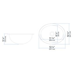 """Dimensions of Ambassador Marine Oval Sink 13-1/4"""" Wide - Mirror Stainless Steel Finish, Without Studs"""