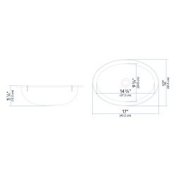 "Dimensions of Ambassador Marine Oval Sink 17"" Wide - Brushed Stainless Steel Finish, With Mounting Studs"
