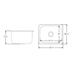 "Dimensions of Ambassador Marine Rectangle Sink 13"" Wide - Brushed Stainless Steel Finish, Without Studs"