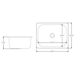 "Dimensions of Ambassador Marine Rectangle Sink 20"" Wide - Brushed Stainless Steel Finish, Without Studs"