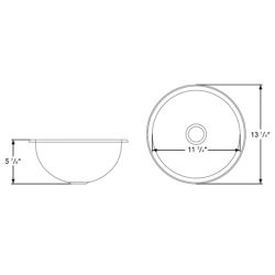 """Dimensions of Ambassador Marine Round Sink 13-1/4"""" Wide - Mirror Stainless Steel Finish, Without Studs"""