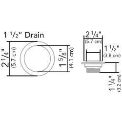 "Dimensions of Ambassador Marine 2-1/4"" Straight Drain Kit"