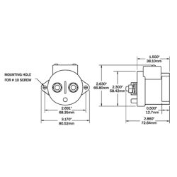 Dimensions of Blue Sea Systems L-Series Electronic Solenoid Switch - 12-24V, 250A