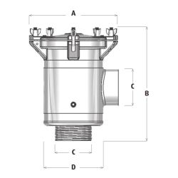 Dimensions of Buck Algonquin Arctic Steel Raw Water Strainers