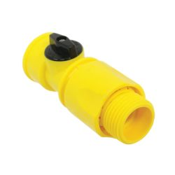 angle view of Camco Quick Hose Connect with Shut-Off Valve