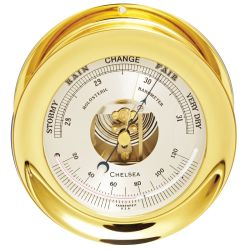 """Front View of Chelsea Ship's Bell Barometer - Brass 6"""""""