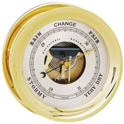 """Front View of Chelsea Ship's Bell Barometer - Brass 8-1/2"""""""